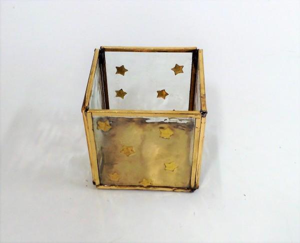 Teelicht Windlicht goldene Sterne Glas Metall Colmore 8 x 8 x 8 cm 001-18-2453-S-Brass